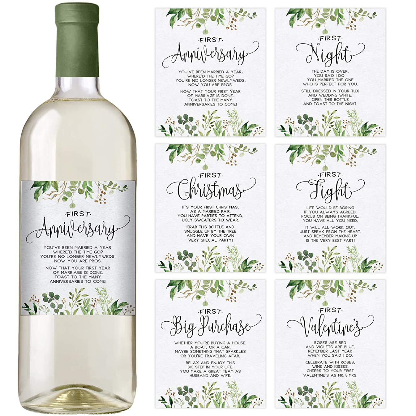 Greenery Wedding First Wine Bottle Labels, Set of 6 Labels, Wedding Gift, Wedding Milestones, Wedding Firsts