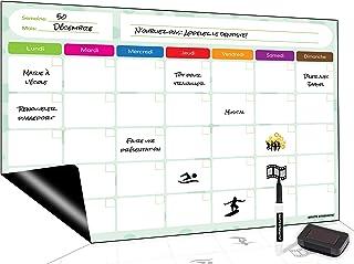 Tableau Blanc magnétique, Planning hebdomadaire magnétique Flexible effaçable à Sec Tableau Notes mémo aimanté pour Frigo ...
