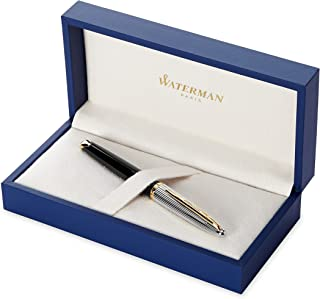 Waterman Carène Deluxe Fountain Pen, Gloss Black & Silver Plated with 23k Gold Clip, Fine Nib with Blue Ink Cartridge, Gift Box