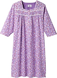 Silverts Disabled Elderly Needs Womens Cotton Hospital Nightgown Three-Quarter Sleeves Open
