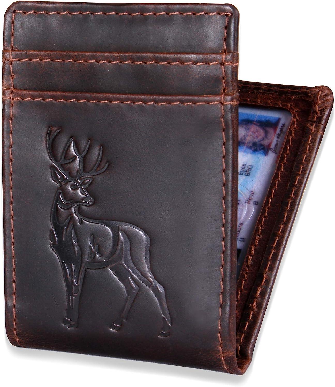 Leather Bifold Wallet for Men + Money Clip - Deer Embossed Wallet for Hunters