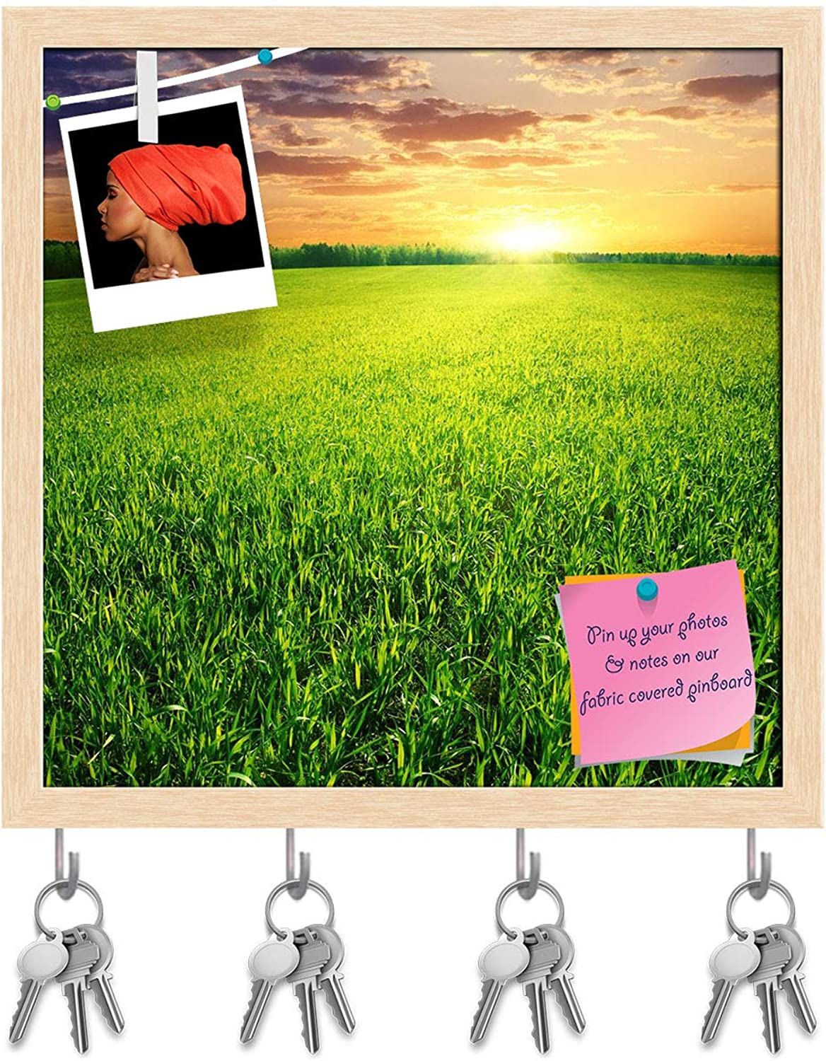Artzfolio Beautiful Sunset D2 Key Holder Hooks   Notice Pin Board   Natural Brown Frame 20 X 20Inch