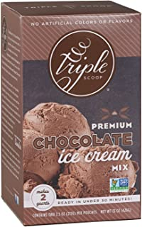 Triple Scoop Ice Cream Mix, Premium Chocolate, starter for use with home ice cream maker, non-gmo, no artificial colors or flavors, ready in under 30 mins, makes 2 qts (1 15oz box)