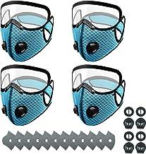 Maeau Vizier gezichtsbescherming afneembaar 4 mond- en neusbescherming + 12 filters + 4 ventielen voor motorfiets, fiets, ...