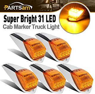Partsam 31LED Amber Cab Marker Light Waterproof Top Roof Running Cab Lights Compatible with Peterbilt/Kenworth/Freightliner/Volvo/Western Star/Mack/International/Paccar Trailer Trucks