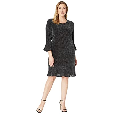 MICHAEL Michael Kors Plus Size Flounce Sleeve Dress (Black/Silver) Women