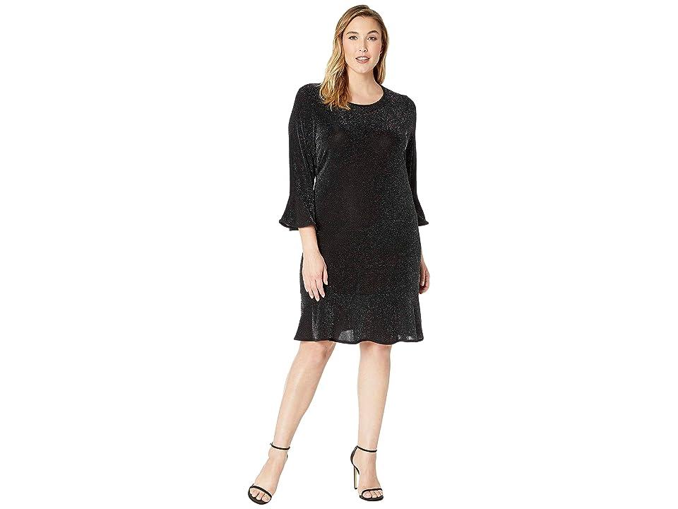 MICHAEL Michael Kors Plus Size Flounce Sleeve Dress (Black/Silver) Women
