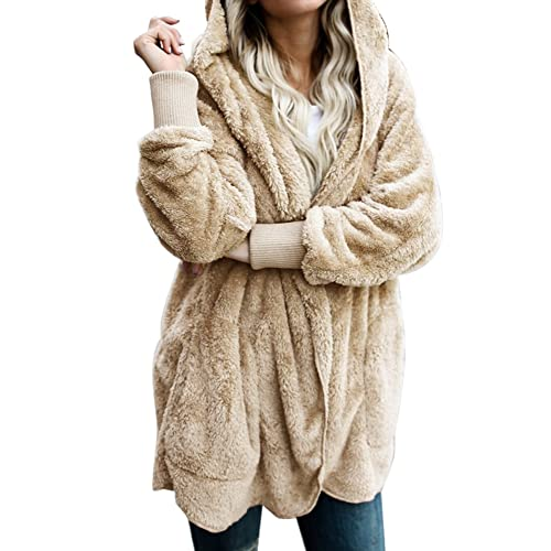 6ca13b9384 ACKKIA Women s Casual Draped Open Front Oversized Pockets Hooded Coat  Cardigan