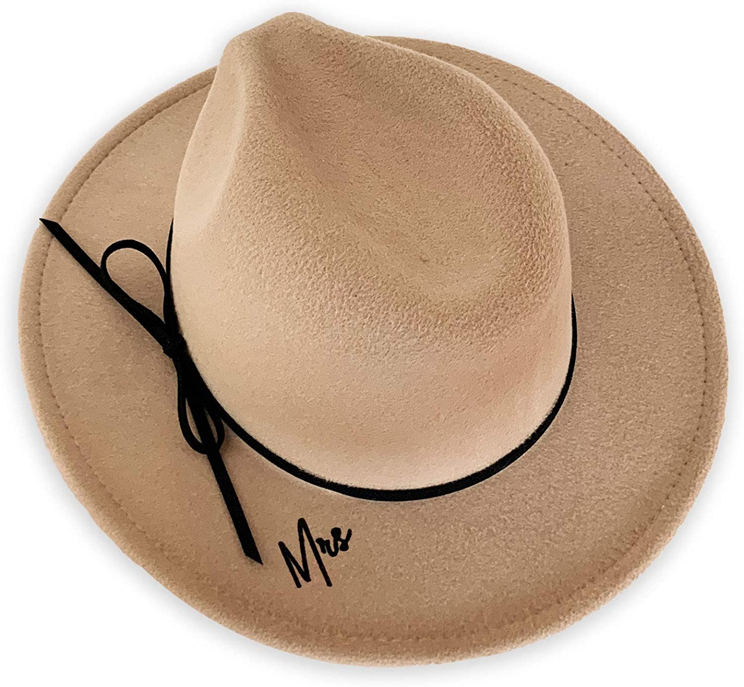 Mrs Fedora Hat Bride Engagement Photo Shoot Prop Tan Camel Fedora with Bow