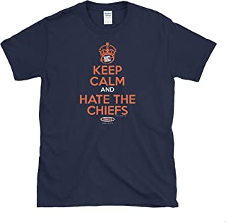 Denver Football Fans. Keep Calm and Hate The Chiefs Navy Soft Style T-Shirt (Sm-5x)