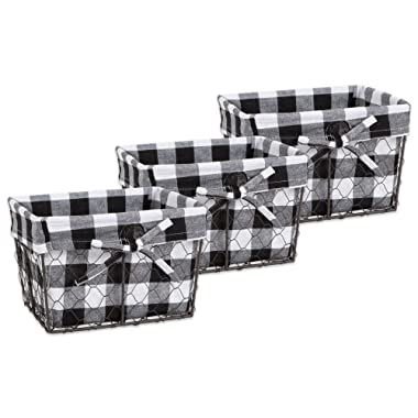 DII Vintage Chicken Wire Baskets for Storage Removable Fabric Liner, Set of 3, Black & White Check 3 Piece