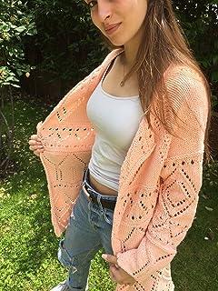 Cardigan o chaqueta de primavera-verano- otoño, muy estiloso, de color albaricoque, tejido a mano, talla M-L, para mujer o...