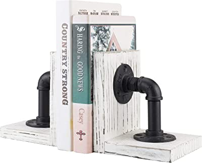 MyGift Industrial Pipe & Whitewashed Wood Decorative Bookends, 1-Pair