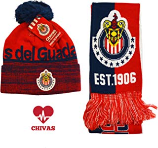 Chivas Beanie + Scarf Reversible + Sticker - 3 Items Men's Peruvian Ski Hat Mexico Soccer Football New Season