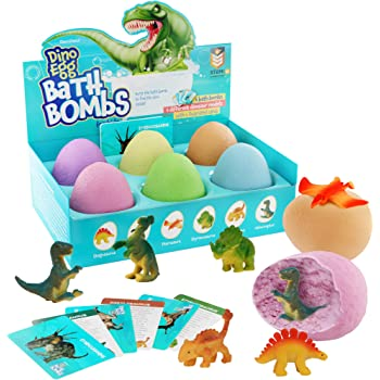Bath Bombs for Kids - Kids Bath Bomb with Surprise Inside - Dinosaur Toys Gift for Boys and Girls Ages 3 4 5 6 7 8 9 & 10 Years Old - Easter Toy Gifts - Fun Educational Dino Egg Fizzy Set