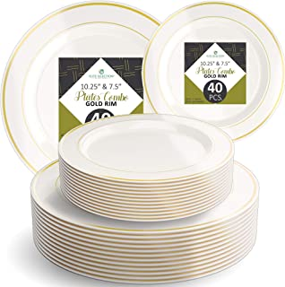 """Disposable Plastic Plate Set - 40 Pack Cream Dinnerware with 10.25"""" Dinner and 7.5"""" Salad Plate with Elegant Gold Double Trim for Wedding, Birthday, Party - by Elite Selection"""