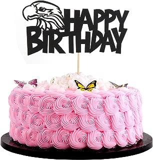 Artczlay Bald Eagle Happy Birthday Cake Topper Black Flash Birthday Party Cake Decoration