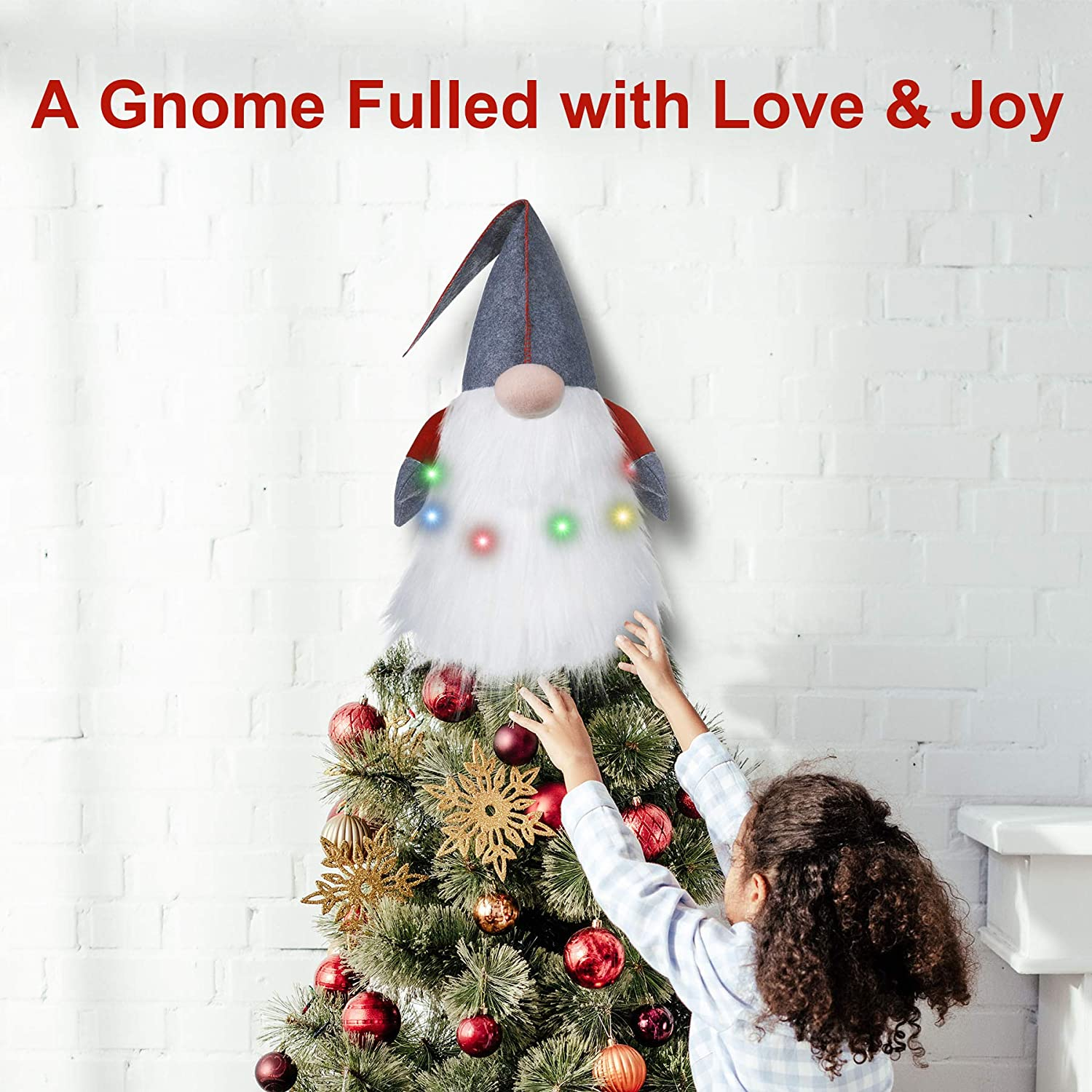 Christmas Tree Topper for Xmas Christmas Decorations Home Party Gift Oubomu Lighted Christmas Tree Topper Large Scandinavian Swedish Tomte Gnome Tree Toppers Battery Operated