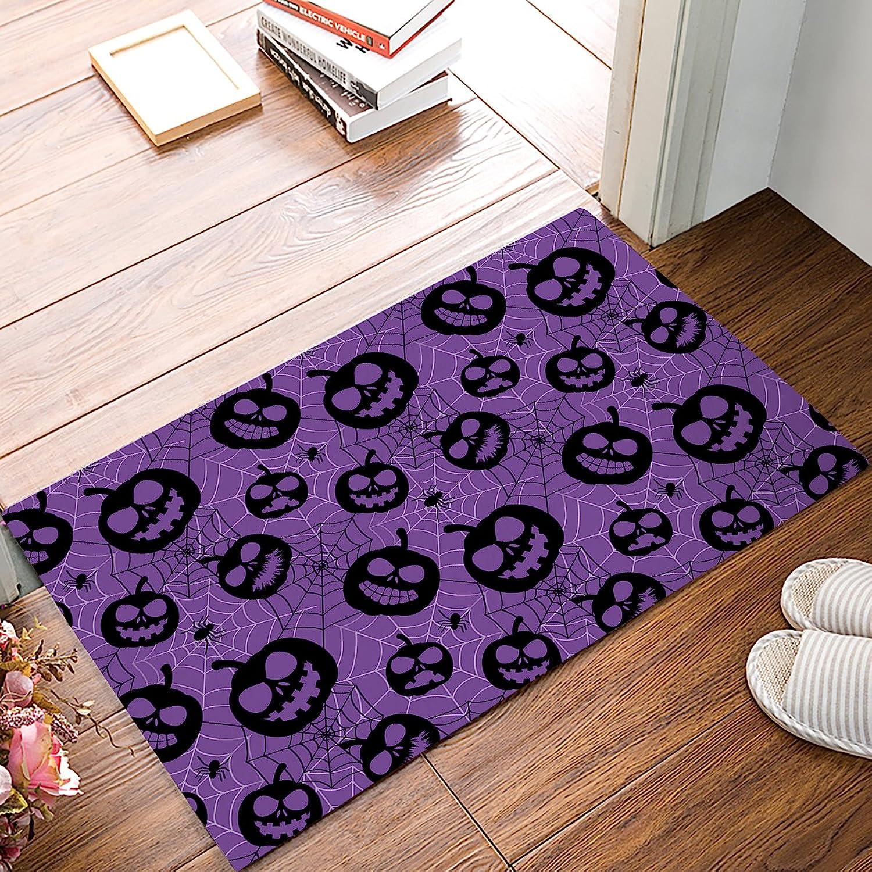 DaringOne Halloween Pumpkins Patterns Bats and Spider Web Horror Themed,Purple Indoor Outdoor Non-Slip Rubber Welcome Mats Floor Rug for Bathroom Front Entryway 20  W X 31.5  L