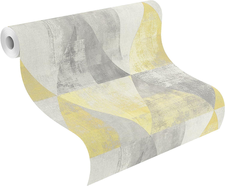Rasch 410921 Non Woven Wallpaper Yellow Grey Amazon De Diy Tools