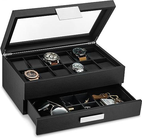 Glenor Co Watch Box with Valet Drawer for Men - 12 Slot Luxury Watch Case Display Organizer, Carbon Fiber Design - Me...