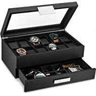 Glenor Co Watch Box with Valet Drawer for Men - 12 Slot Luxury Watch Case Display Organizer,...