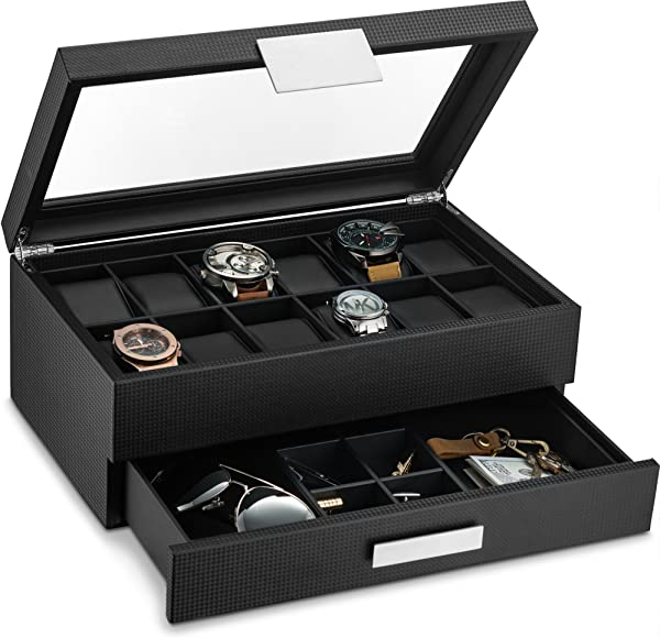 Glenor Co Watch Box With Valet Drawer For Men 12 Slot Luxury Watch Case Display Organizer Carbon Fiber Design Metal Buckle For Mens Jewelry Watches Men S Storage Boxes Holder Has Large Glass Top