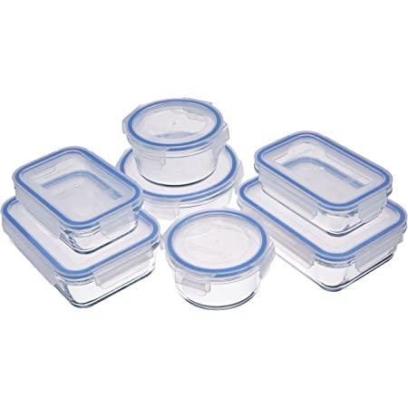 Amazon Basics Glass Locking Lids Food Storage Containers, 14-Piece Set