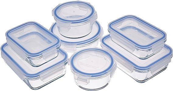 Amazon BasicsAmazon Basics - Recipientes de cristal para alimentos, con cierre 14 piezas (7 envases + 7 tapas), sin BPA
