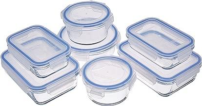 AmazonBasics Recipiente de vidrio para almacenar alimentos, con cierre, 14-piezas, 1