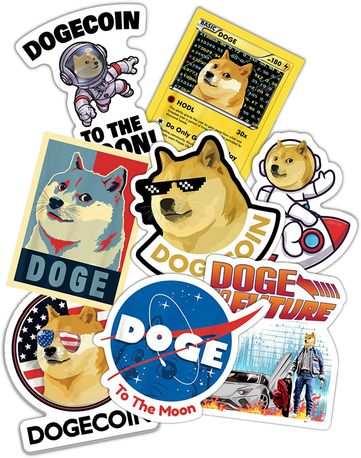 Dogecoin Sticker (Pack of 8) Premium Vinyl Decal for Fans of Dogecoin, Doge, Cryptocurrency, Crypto, Blockchain, Bitcoin, Ethereum, WSB Wallstreetbets, GME Gamestop, Stonks, etc.