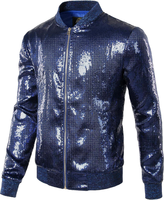 JOGAL Mens Sequins Nightclub Styles Zip up Varsity Baseball Bomber Jacket
