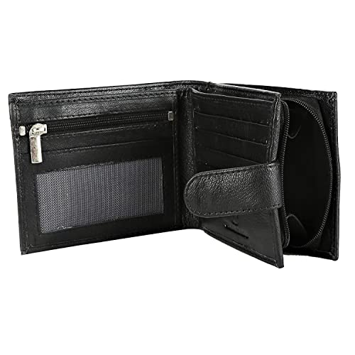MEN GENUINE REAL SOFT LEATHER WALLET With LARGE COIN POUCH