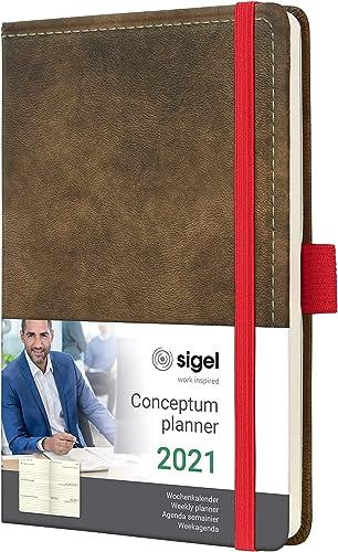 SIGEL C2156 Agenda semainier 2021 Conceptum, couverture rigide, 9,5 x 15 cm, motif Vintage aspect cuir brun