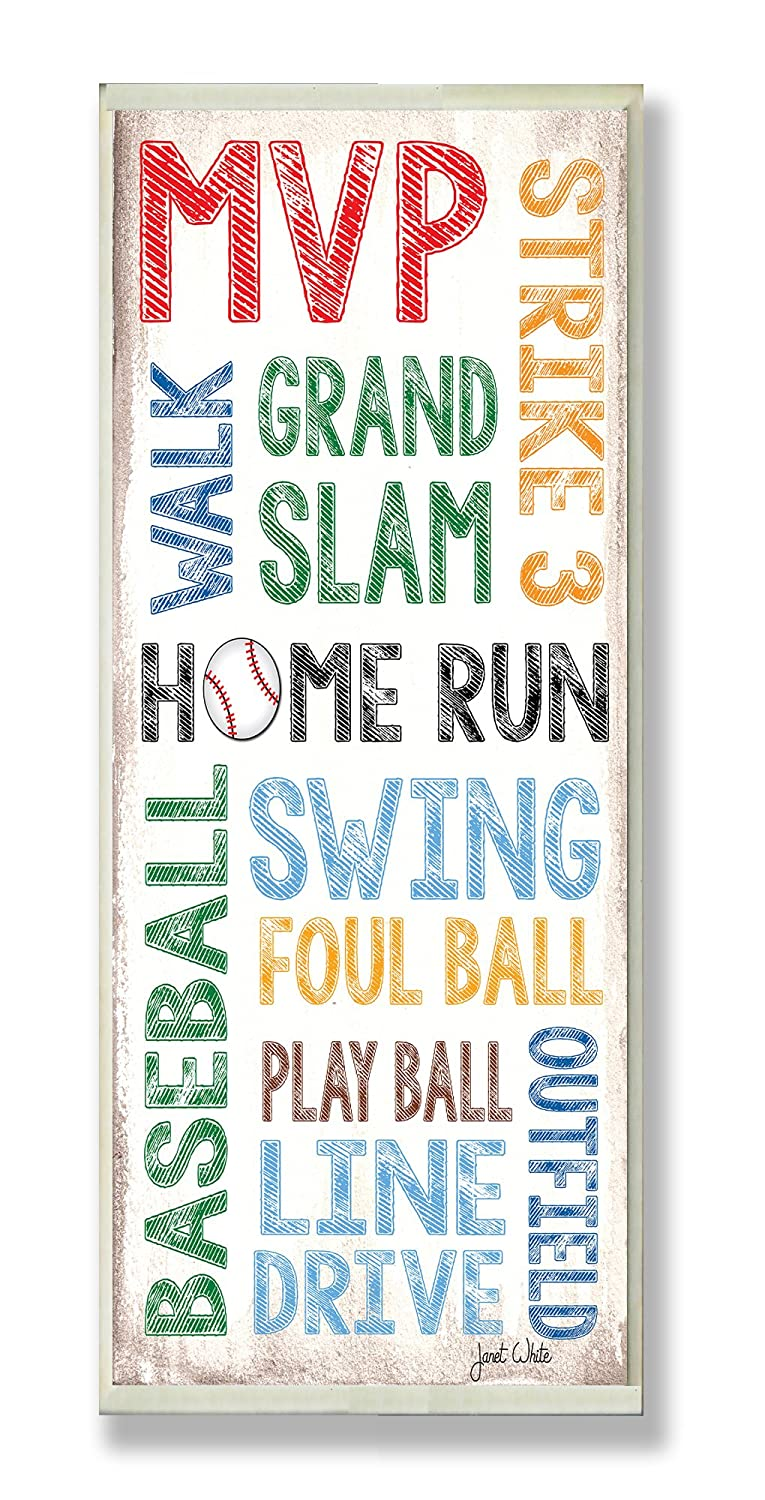 Manufacturer direct delivery Max 86% OFF The Kids Room by Stupell Typography Rectangle Home Run Baseball