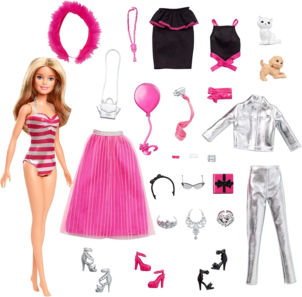 Barbie calendario dell`avvento, 24 sorprese da scoprire, bambola inclusa GFF61