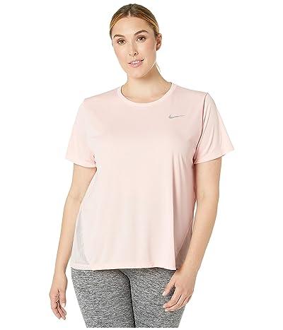Nike Dry Miler Top Short Sleeve (Size 1X-3X) (Echo Pink/Reflective Silver) Women
