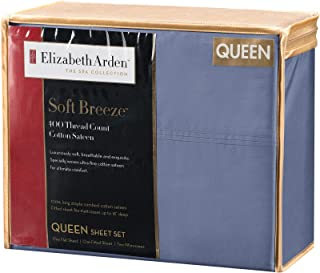 "Elizabeth Arden Soft Breeze 400 Thread Count Cotton 4-Piece Sheet Set – Natural Pure Long-Staple Cotton – Soft and Silky – Deep Fitted Pocket Fits Mattress up to 18"" - Queen - Blue"