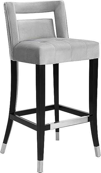 Tov Furniture TOV BS26 Hart Velvet Stool Counter Height Gray