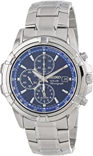 Men's SSC141 Stainless Steel Solar Watch with Blue Dial