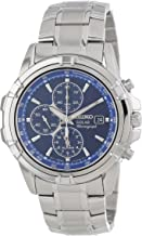 Seiko Men's SSC141 Stainless Steel Solar Watch with Blue Dial