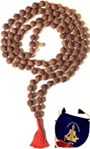 RUDRAKSHA RUDRAKSH JAPA MALA PRAYER BEADS NECKLACE-BIG 10-12 mm 108 BEADS 5 FACET (5 MUKHI)-SPIRITUALLY ACTIVATED & ENERGIZED HAND KNOTTED HANDMADE MALA FOR NIRVANA, BHAKTI, YOGA MEDITATION - US SELLER