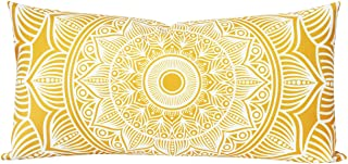 SLOW COW Rectangular Velvet Throw Pillow Cover Decorative Print Lumbar Accent Cushion Cover for Couch Sofa 12 x 24 Inches Yellow Gold