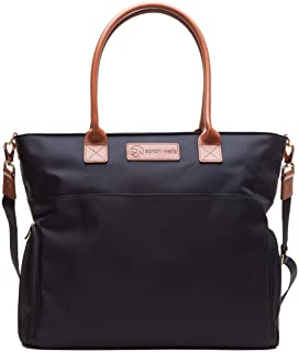 Sarah Wells Abby Breast Pump Bag with Real Leather Straps Black