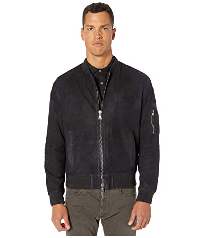 John Varvatos Collection Goat Suede Easy Fit Bomber Jacket L1211V2 (Midnight) Men