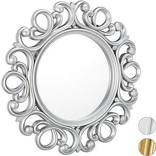 Relaxdays, Plata Espejo Redondo de Pared, Decoración de Pasillo o salón, con Marco, ∅ 50 cm, PP, Vidrio, cartón, 50 x 50 x 3 cm