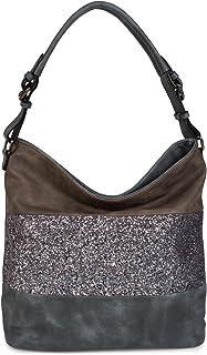 styleBREAKER edle 2-farbige Hobo Bag Handtasche mit Pailletten Streifen, Shopper, Schultertasche, Tasche, Damen 02012181, ...
