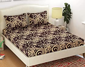 HFI Homefab India Polycotton Double Bedsheet with 2 Pillow Covers - Floral, Brown