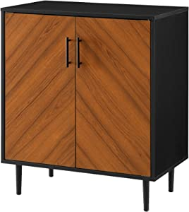 Walker Edison Furniture Company Mid Century Modern Bookmatched Kitchen Buffet Accent Entryway Bar Cabinet Storage Entry Table Living Dining Room, 28 Inch, Black