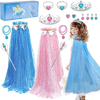 Fedio Girls Princess Cape Set 14 Pieces Princess Dress up Trunk Costume Set with Princess Cape, Princess Tiara Crown, Prin...